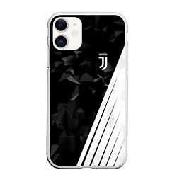 Чехол iPhone 11 матовый FC Juventus: Abstract цвета 3D-белый — фото 1