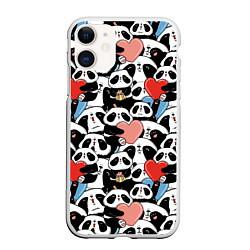Чехол iPhone 11 матовый Funny Pandas цвета 3D-белый — фото 1