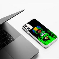 Чехол iPhone 11 матовый Brawl Stars LEON цвета 3D-белый — фото 2
