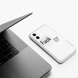 Чехол iPhone 11 матовый Fuck цвета 3D-белый — фото 2