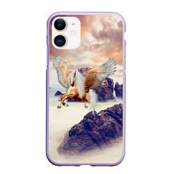Чехол iPhone 11 матовый Sea Sunset Horse цвета 3D-светло-сиреневый — фото 1