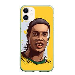 Чехол iPhone 11 матовый Ronaldinho Art цвета 3D-салатовый — фото 1
