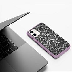 Чехол iPhone 11 матовый Гламурный узор цвета 3D-сиреневый — фото 2