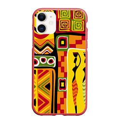 Чехол iPhone 11 матовый Африка цвета 3D-красный — фото 1