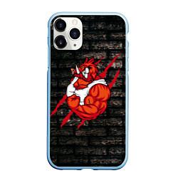 Чехол iPhone 11 Pro матовый Кабан-качок цвета 3D-голубой — фото 1