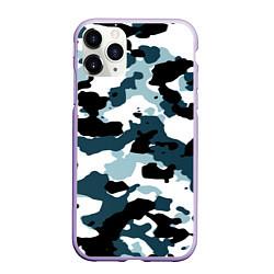 Чехол iPhone 11 Pro матовый Камуфляж зимний: пятна цвета 3D-светло-сиреневый — фото 1