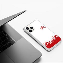 Чехол iPhone 11 Pro матовый HOKAGE KAKASHI на спине цвета 3D-белый — фото 2