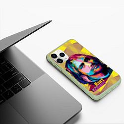 Чехол iPhone 11 Pro матовый Kurt Cobain: Abstraction цвета 3D-салатовый — фото 2