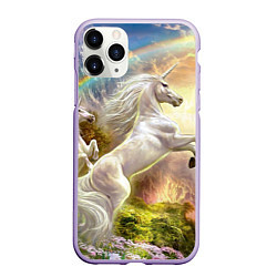 Чехол iPhone 11 Pro матовый Радужный единорог цвета 3D-светло-сиреневый — фото 1