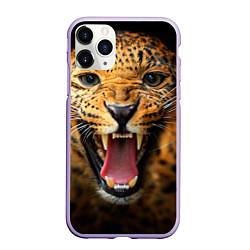 Чехол iPhone 11 Pro матовый Рык леопарда цвета 3D-светло-сиреневый — фото 1