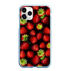 Чехол iPhone 11 Pro матовый Клубничка цвета 3D-голубой — фото 1