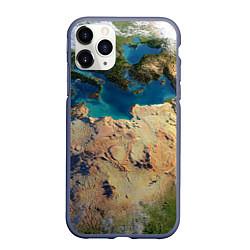 Чехол iPhone 11 Pro матовый Земля цвета 3D-серый — фото 1