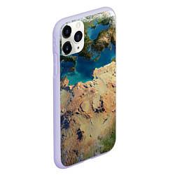 Чехол iPhone 11 Pro матовый Земля цвета 3D-светло-сиреневый — фото 2