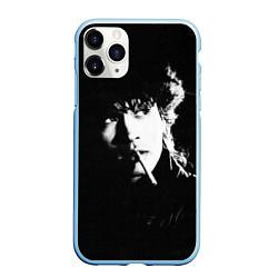 Чехол iPhone 11 Pro матовый Цой с сигаретой цвета 3D-голубой — фото 1