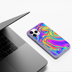 Чехол iPhone 11 Pro матовый Цветные разводы цвета 3D-светло-сиреневый — фото 2