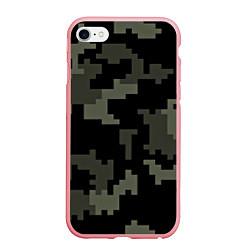 Чехол iPhone 6/6S Plus матовый Камуфляж пиксельный: черный/серый цвета 3D-баблгам — фото 1