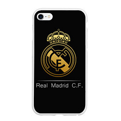 Чехол iPhone 6/6S Plus матовый FC Real Madrid: Gold Edition цвета 3D-белый — фото 1