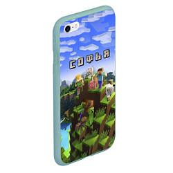 Чехол iPhone 6/6S Plus матовый Майнкрафт: Софья цвета 3D-мятный — фото 2