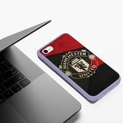 Чехол iPhone 6/6S Plus матовый FC Man United: Old Style цвета 3D-светло-сиреневый — фото 2
