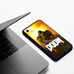 Чехол iPhone 6/6S Plus матовый DOOM: Soldier цвета 3D-черный — фото 2