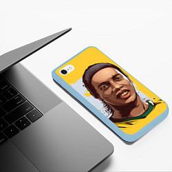 Чехол iPhone 6/6S Plus матовый Ronaldinho Art цвета 3D-голубой — фото 2