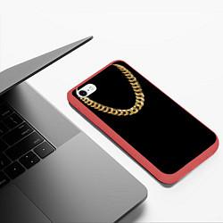 Чехол iPhone 6/6S Plus матовый Золотая цепь цвета 3D-красный — фото 2