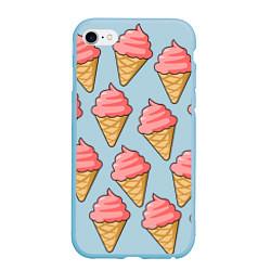 Чехол iPhone 6/6S Plus матовый Мороженки цвета 3D-голубой — фото 1