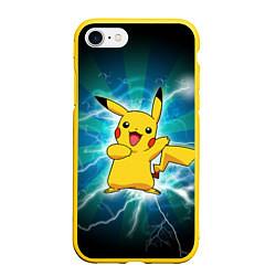 Чехол iPhone 7/8 матовый Искрящийся Пикачу цвета 3D-желтый — фото 1