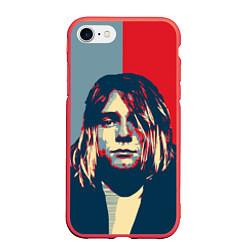 Чехол iPhone 7/8 матовый Kurt Cobain цвета 3D-красный — фото 1