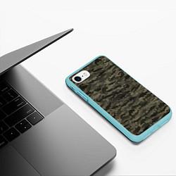 Чехол iPhone 7/8 матовый Камуфляж рыбака цвета 3D-мятный — фото 2