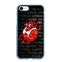 Чехол iPhone 7/8 матовый Кабан-качок цвета 3D-голубой — фото 1