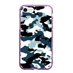 Чехол iPhone 7/8 матовый Камуфляж зимний: пятна цвета 3D-фиолетовый — фото 1