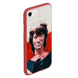 Чехол iPhone 7/8 матовый Молодой Цой цвета 3D-красный — фото 2