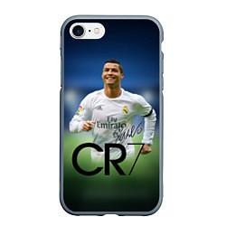 Чехол iPhone 7/8 матовый CR7 цвета 3D-серый — фото 1