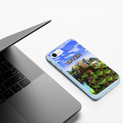 Чехол iPhone 7/8 матовый Майнкрафт: Артём цвета 3D-голубой — фото 2