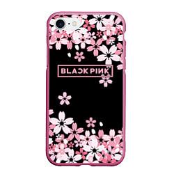 Чехол iPhone 7/8 матовый Black Pink: Pink Sakura цвета 3D-малиновый — фото 1