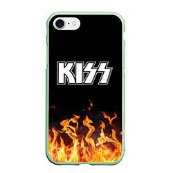 Чехол iPhone 7/8 матовый Kiss: Hell Flame цвета 3D-салатовый — фото 1