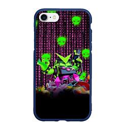 Чехол iPhone 7/8 матовый Virus 8-Bit цвета 3D-тёмно-синий — фото 1