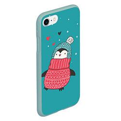 Чехол iPhone 7/8 матовый Пингвинчик цвета 3D-мятный — фото 2