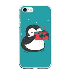 Чехол для iPhone 7/8 матовый с принтом Пингвин с фотоаппаратом, цвет: 3D-белый, артикул: 10079039305885 — фото 1