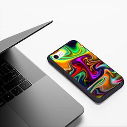 Чехол iPhone 7/8 матовый Неоновые разводы цвета 3D-черный — фото 2