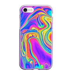 Чехол iPhone 7/8 матовый Цветные разводы цвета 3D-светло-сиреневый — фото 1