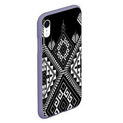 Чехол iPhone XR матовый Индейские мотивы цвета 3D-серый — фото 2