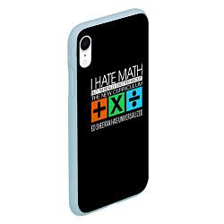 Чехол iPhone XR матовый Ed Sheeran: I hate math цвета 3D-голубой — фото 2