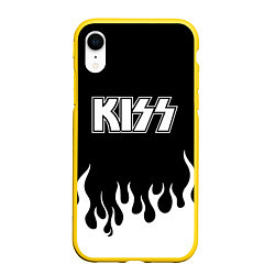 Чехол iPhone XR матовый Kiss цвета 3D-желтый — фото 1