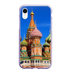 Чехол iPhone XR матовый Храм Василия Блаженного цвета 3D-светло-сиреневый — фото 1