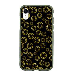 Чехол iPhone XR матовый Nirvana Pattern цвета 3D-темно-зеленый — фото 1