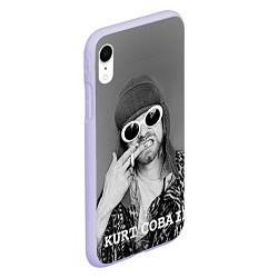 Чехол iPhone XR матовый Кобейн в очках цвета 3D-светло-сиреневый — фото 2