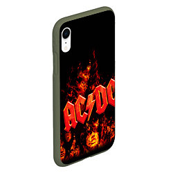 Чехол iPhone XR матовый AC/DC Flame цвета 3D-темно-зеленый — фото 2