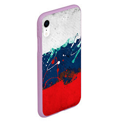 Чехол iPhone XR матовый Триколор РФ цвета 3D-сиреневый — фото 2